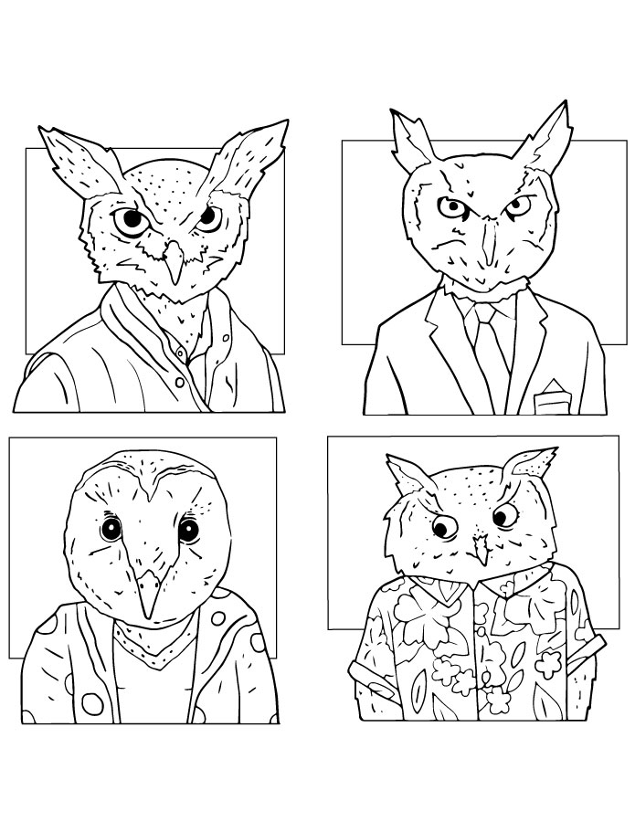 Coloriage animaux drôle à dessiner hiboux humanoides