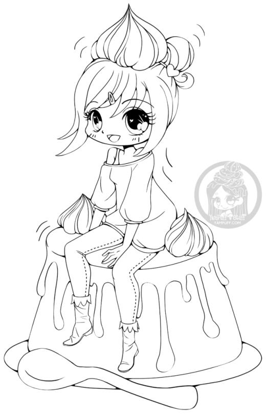 Chibi crème caramel dessin a dessiner par YamPuff