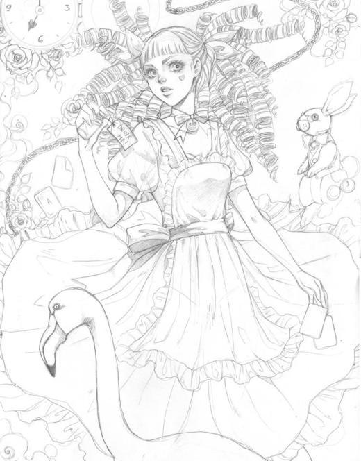 Coloriage à imprimer Alice in wonderland par Dar-Chan