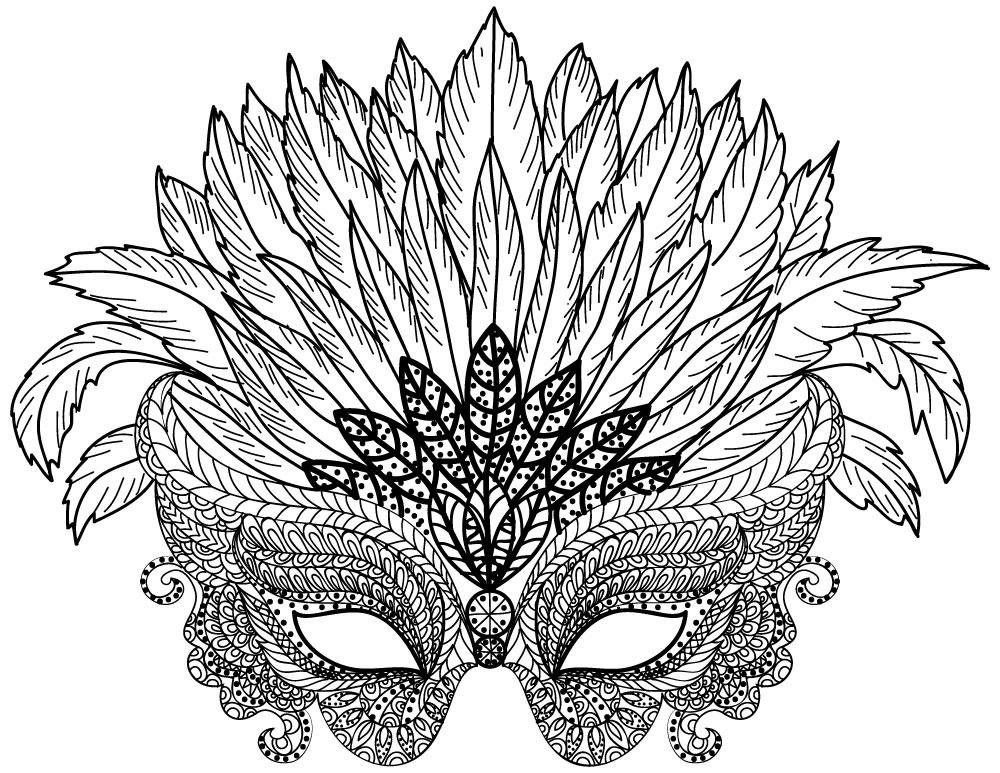 Coloriage difficile à imprimer masque à plumes - Artherapie.ca