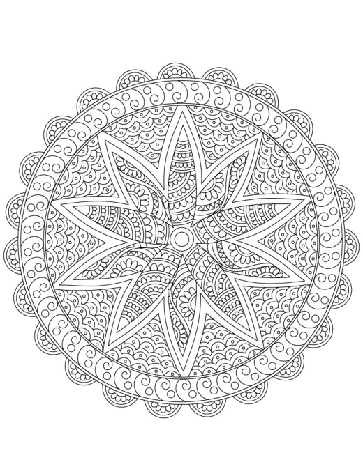 Mandala jeux de coloriage thérapie cellulaire pour adulte