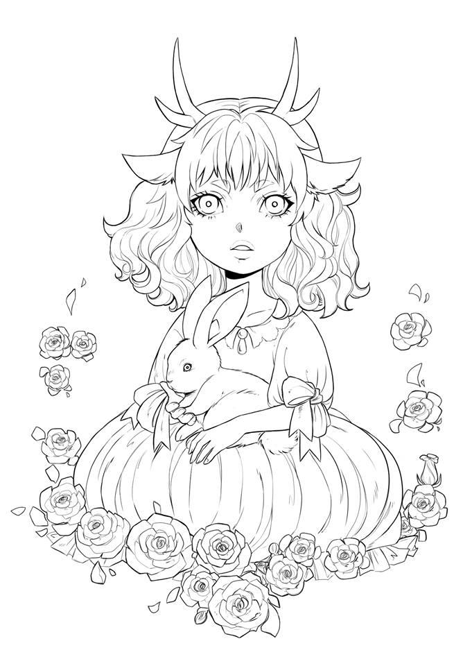 La fillette et le lapin coloriage pour imprimer par Dar-Chan