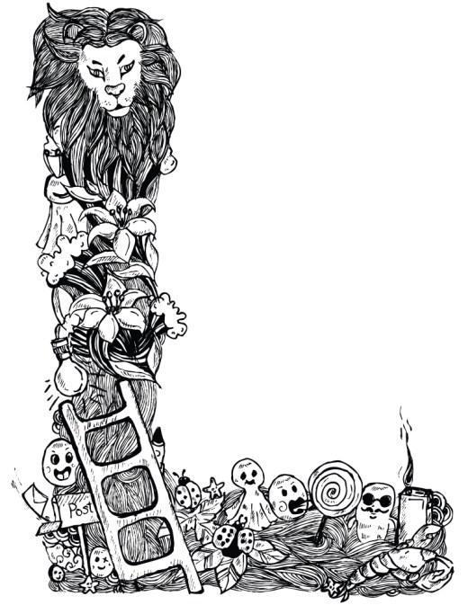 Lettre L comme lion affiche doodle à imprimer et colorier