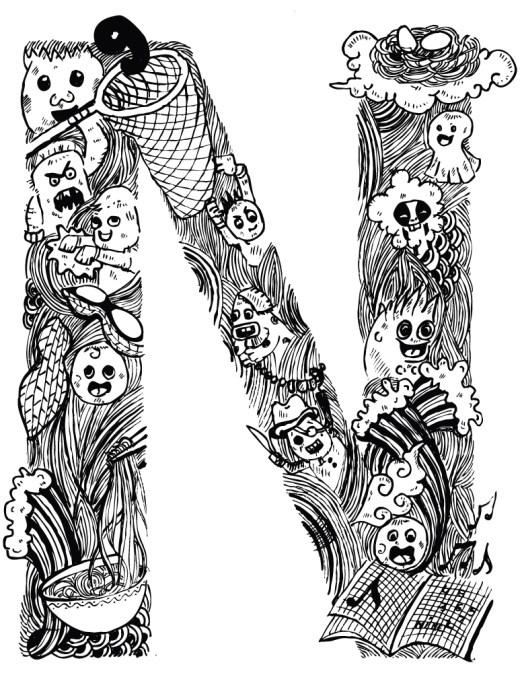 Doodle lettre coloriage gratuit imprimer pour adulte