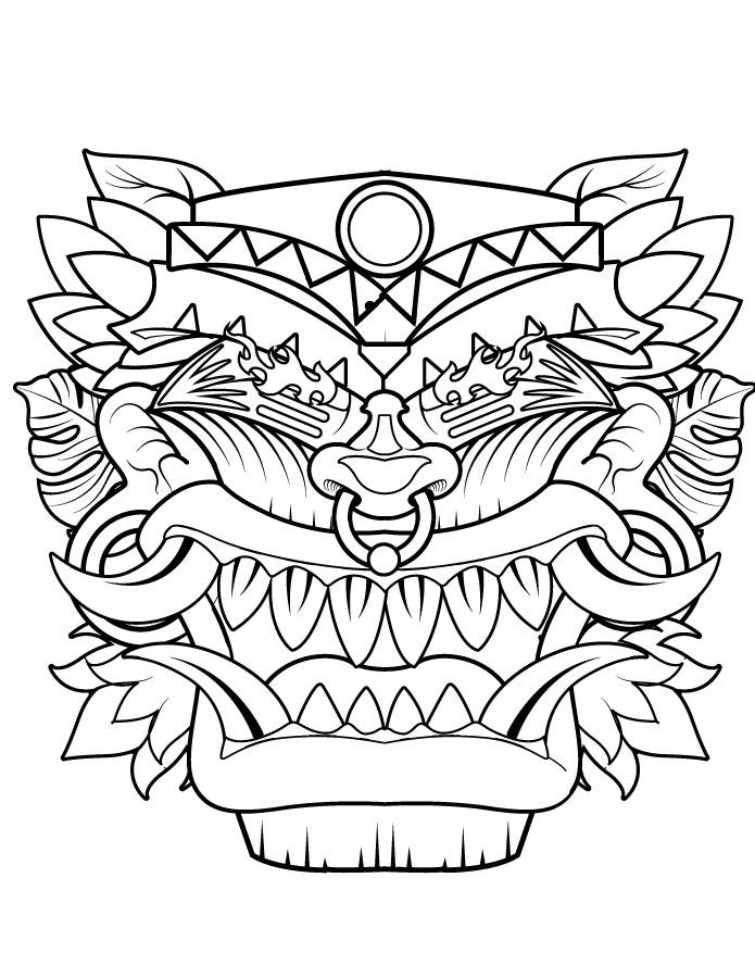 Masque Tiki Coloriage Gratuit Imprimer Pour Halloween