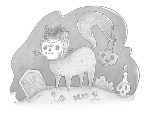 Dessin de chat facile dia de muertos grayscale