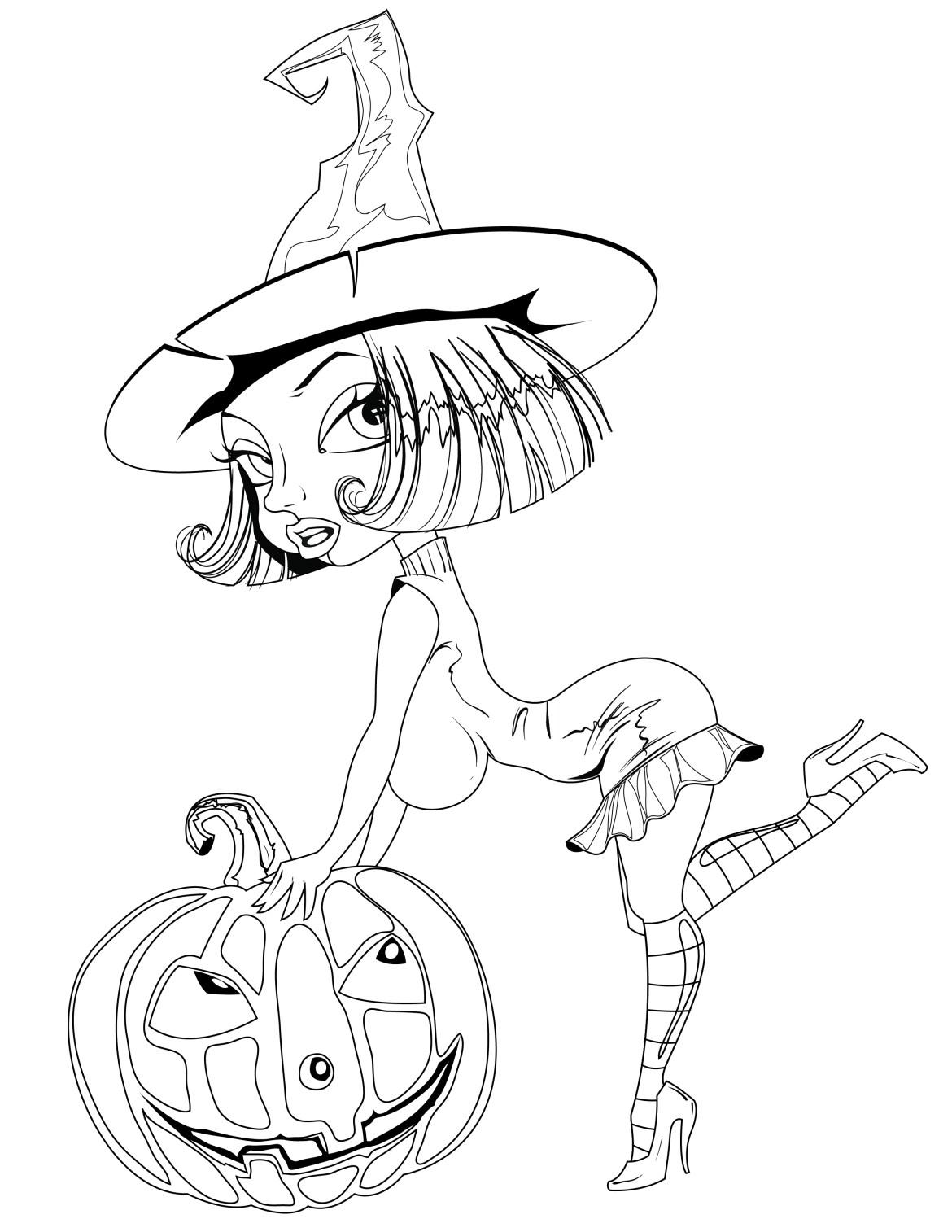 Jeux de coloriage pour adulte sorcière halloween