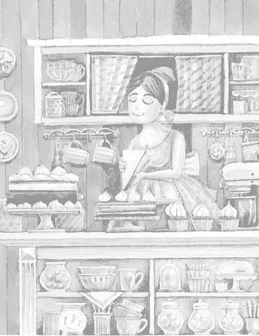 Page grayscale pour adulte à dessiner la pâtissière