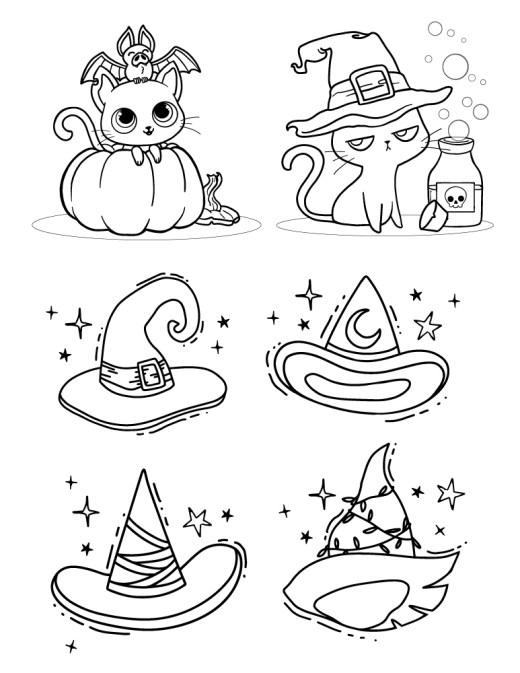 Chats et chapeau coloriage adulte pour Halloween