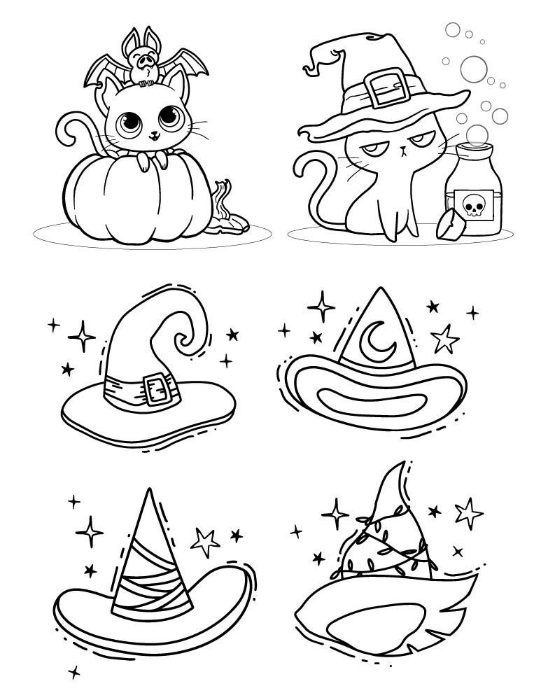 Chats et chapeau coloriage adulte pour Halloween - Artherapie.ca