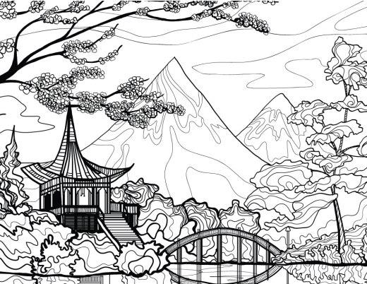 Paysage du Japon dessin à imprimer pour adulte