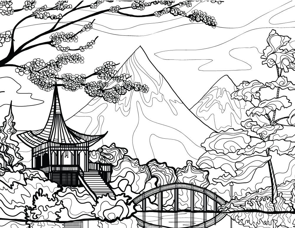 Coloriage Mandala Volcan.Paysage Du Japon Dessin A Imprimer Pour Adulte Artherapie Ca
