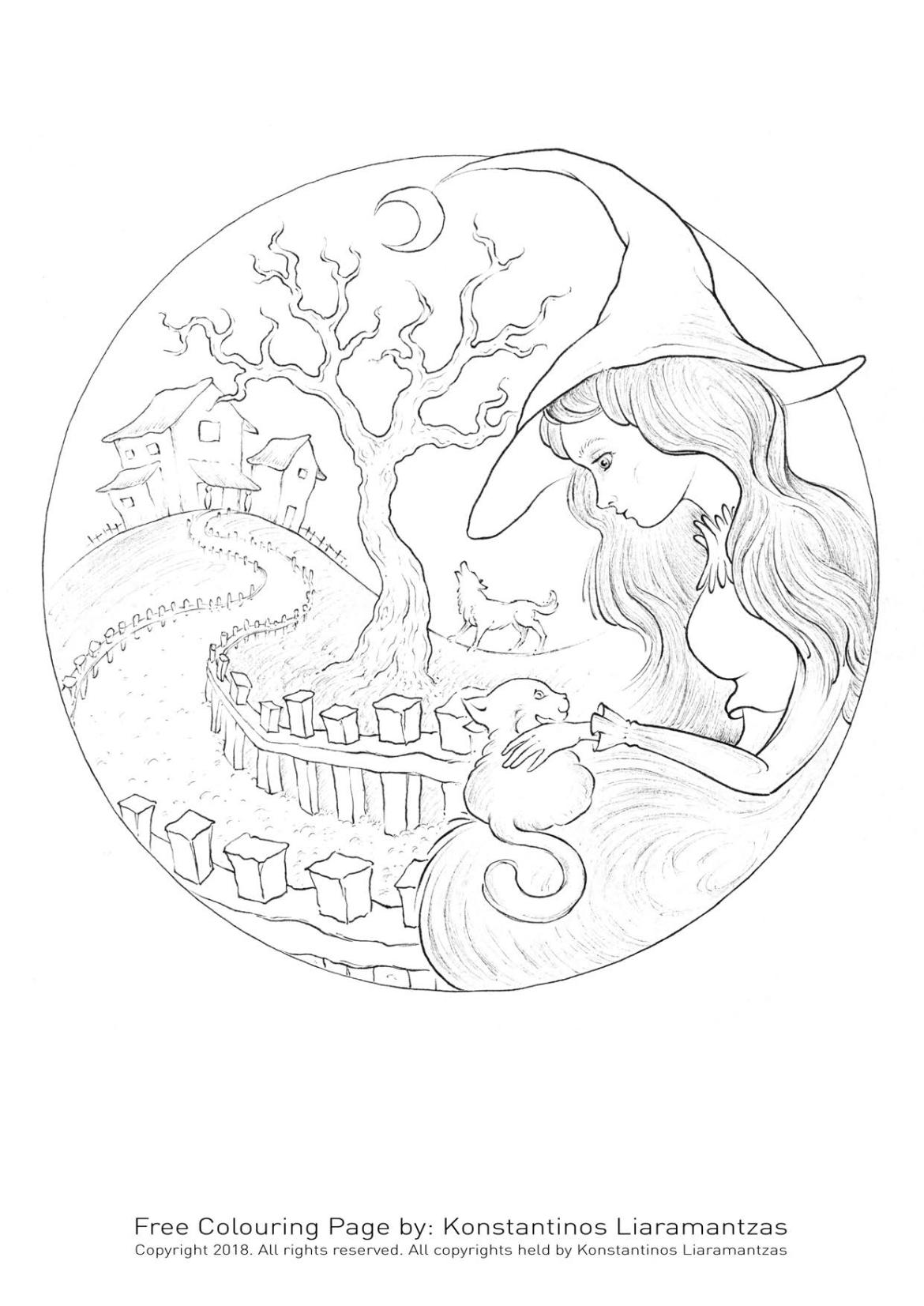 Adorable chat et fillette coloriage à imprimer Halloween