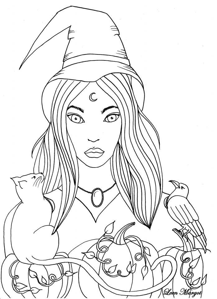 Coloriage citrouille sorcière et chat par Leen Margot
