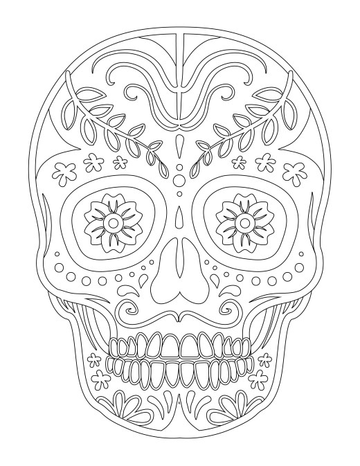 Halloween skull candy coloriage facile à imprimer