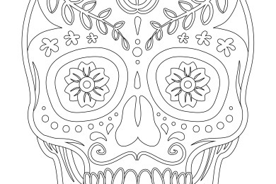 Halloween skull candy coloriage facile à imprimer