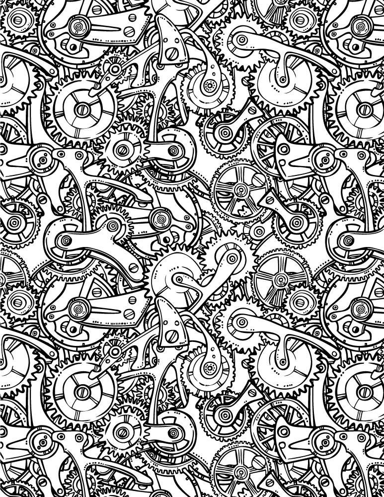 Puzzle à dessiner rouage steampunk par Macrovector