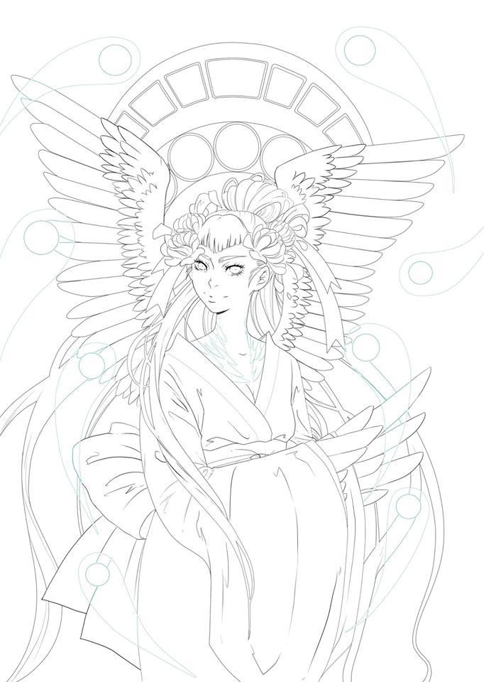 Élégant ange dessin en ligne à colorier par Dar-Chan