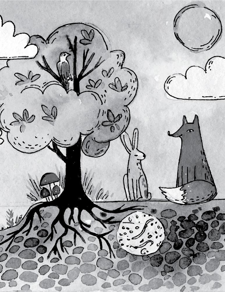 Fable A Dessiner Le Renard Et Le Lapin Jeux Coloriage Pour Enfant