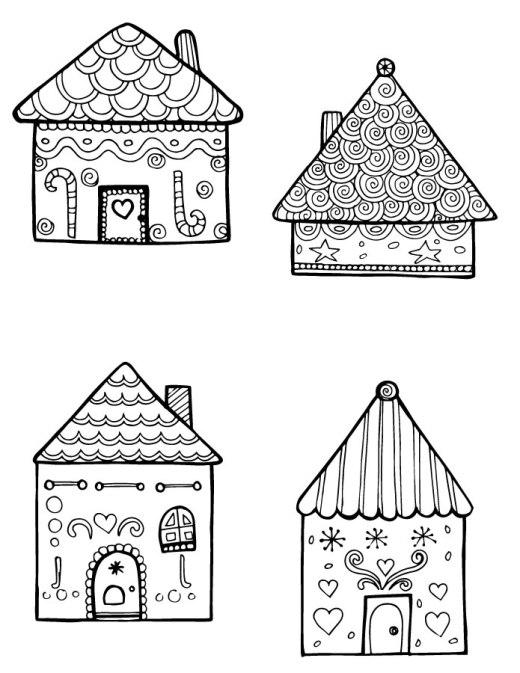 Jeux coloriage maison pain d'épice dessin a imprimer