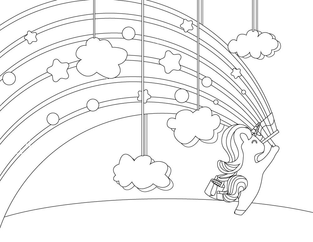 Coloriage licorne joyeux dessin a imprimer artherapie