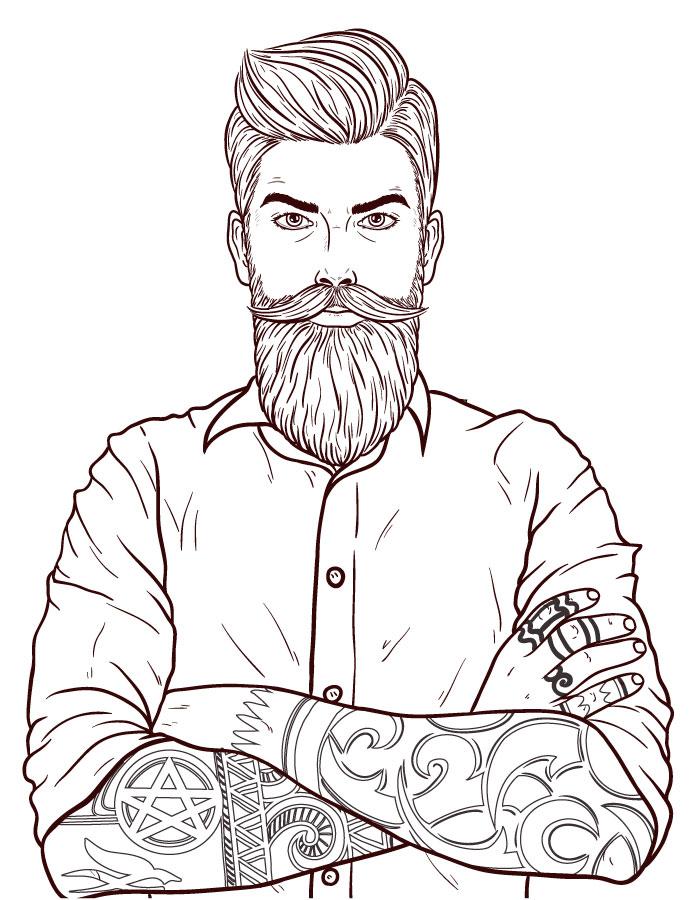 Movember moustache dessin homme coloriage en ligne