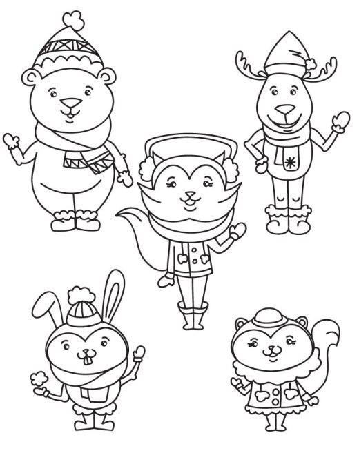 Coloriage animaux joie de l'hiver à dessiner