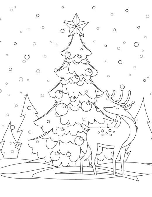 Dessin hiver arbre de Noël coloriage à imprimer