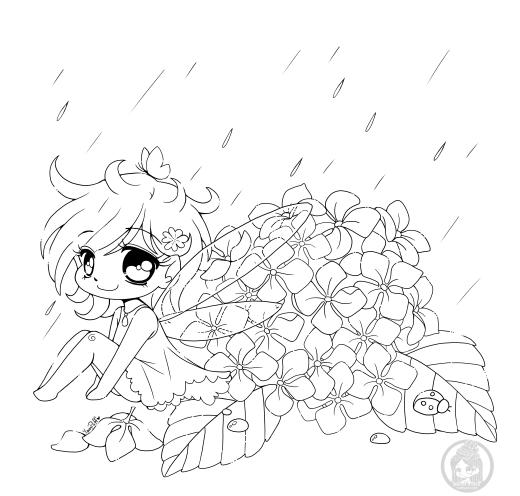Fée kawaii dessin gratuit fleur hydrangée à colorier