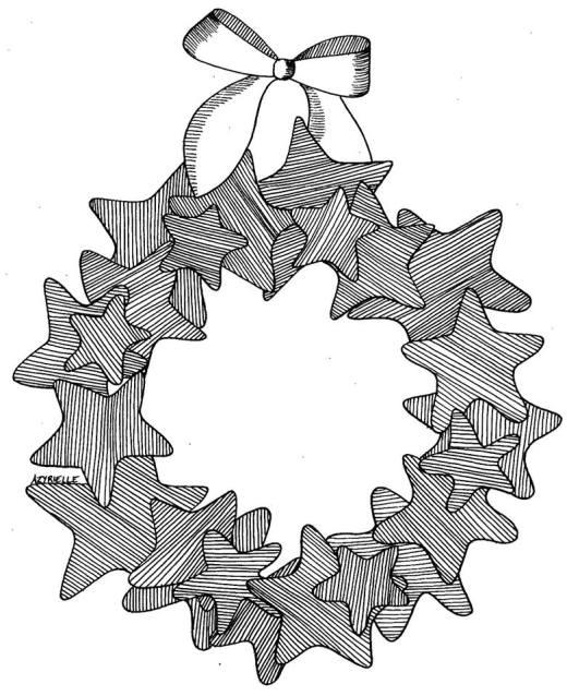 Dessin de Noël couronne par Azyrielle à colorier