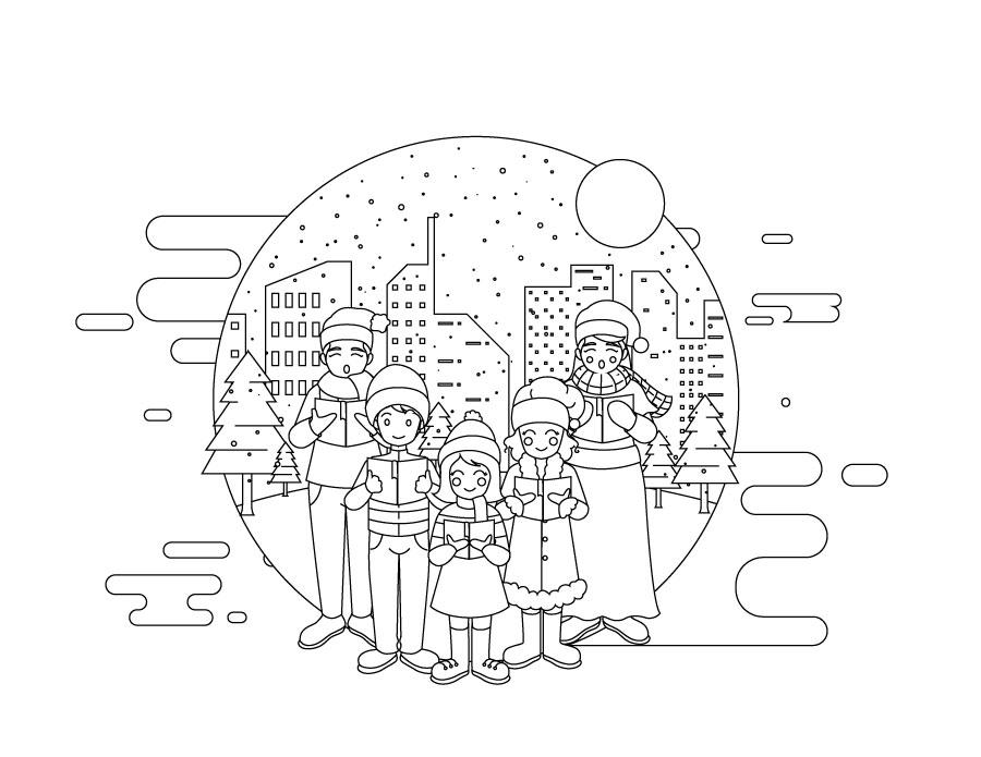 Famille jeux de coloriage noel à imprimer - Artherapie.ca