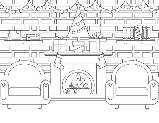 Dessin à colorier foyer image de Noël gratuite