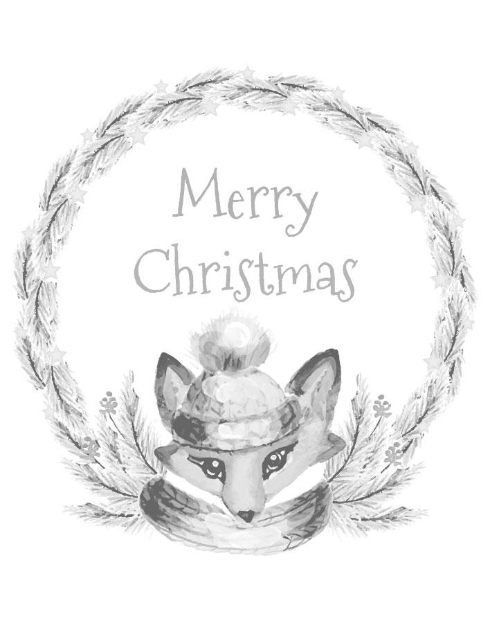 Couronne renard à imprimer coloriage hiver de noël