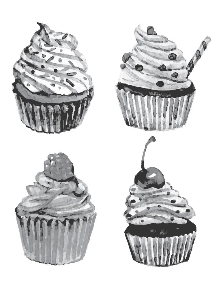 Imprimer Dessin Grayscale Cupcake Gratuit Artherapie Ca
