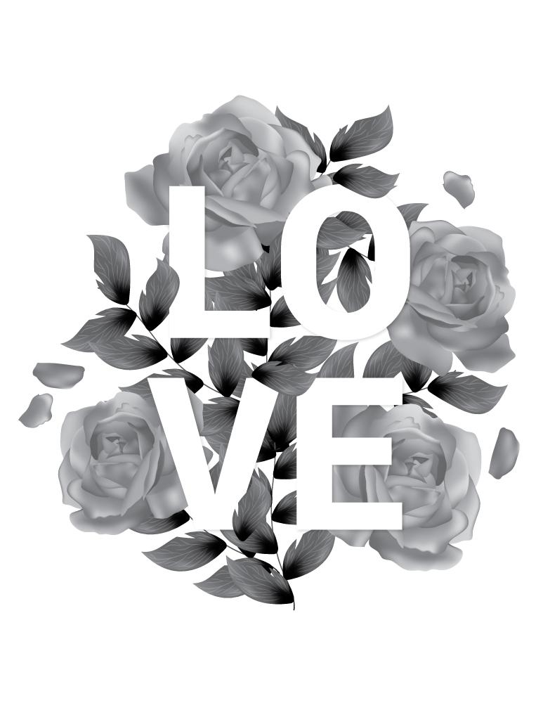 Coloriage Love fleurs et lettres affiche à imprimer