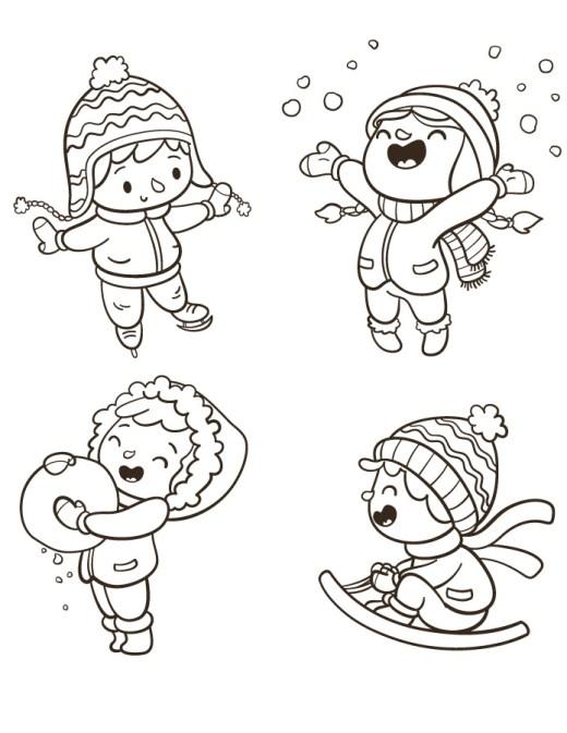 Mini coloriage gratuit activités d'hiver stamp