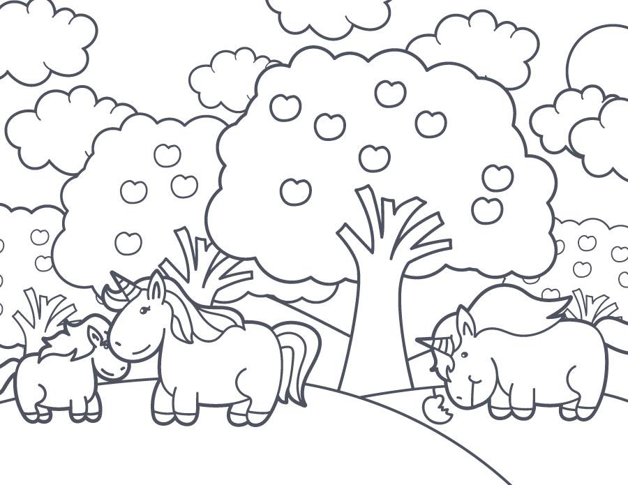 Dessin imprimer gratuit paysage unicorn