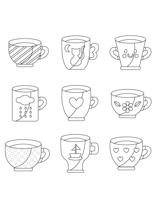 Tasse café gratuit à imprimer artherapie