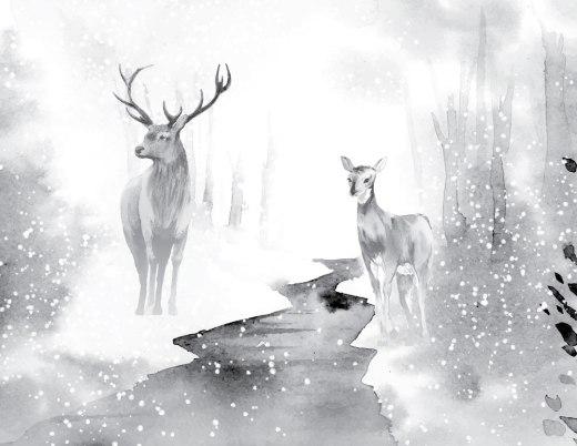 Paysage hiver chevreuil grayscale à imprimer