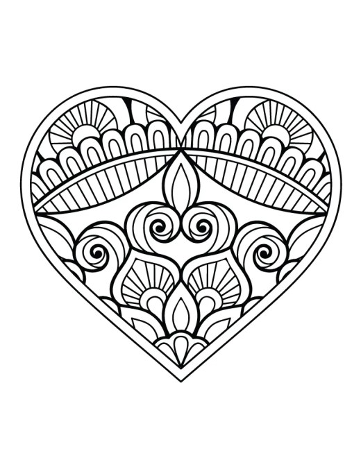 Coloriage st Valentin coeur dessin a imprimer