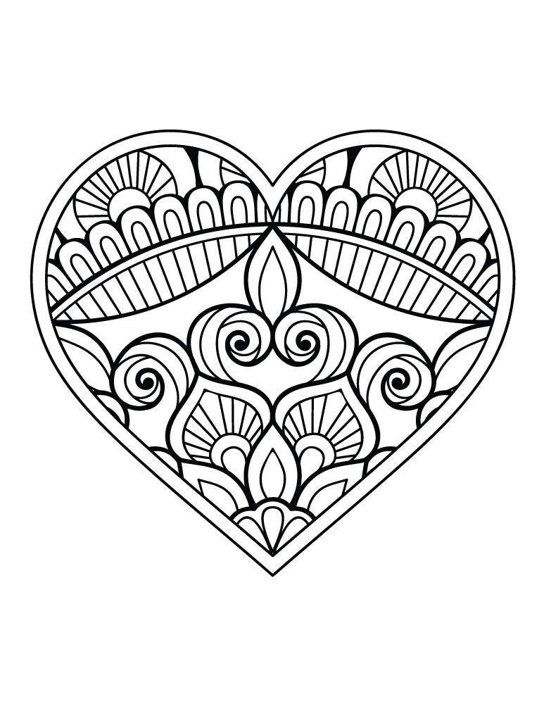 Coeur Tres Difficile Fleurs Coloriage St Valentin Artherapie Ca