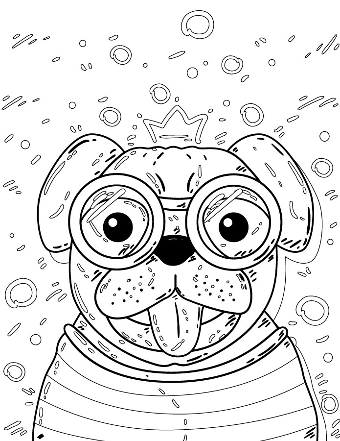 Dessin pug gratuit à imprimer et colorier - Artherapie.ca