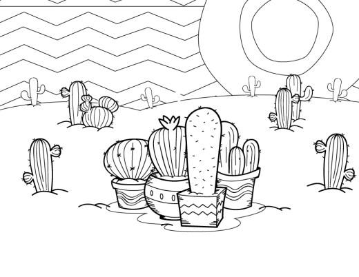 Page de coloriage cactus à dessiner