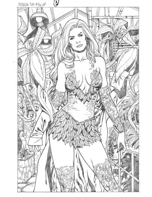 DC comic Poison Ivy coloriage sexy Walter Geovani