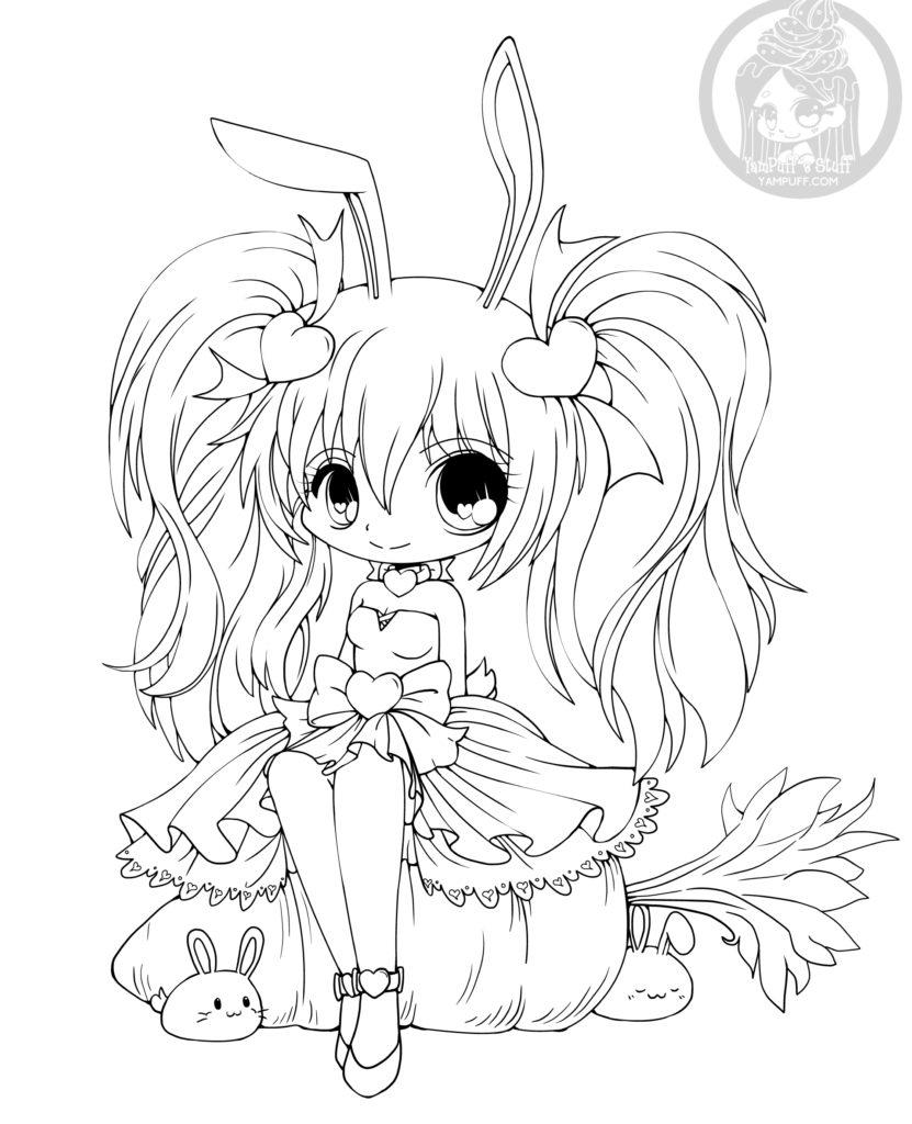 Chibi lapin de pâque image à colorier par YamPuff