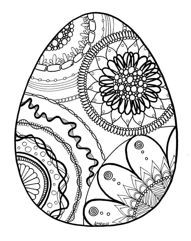 Coloriage Difficile Oeuf De Pâques Artherapieca