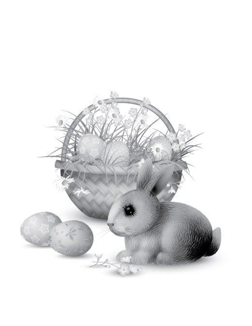 Coloriage adulte grayscale lapin Pâques
