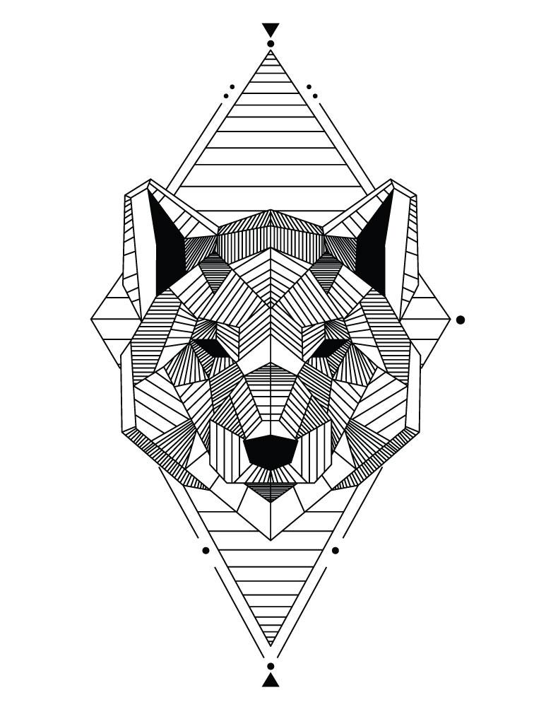 Coloriage Animaux Geometrie Ours A Imprimer Artherapie Ca