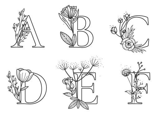 Affiche lettres fleurs dessin artherapie