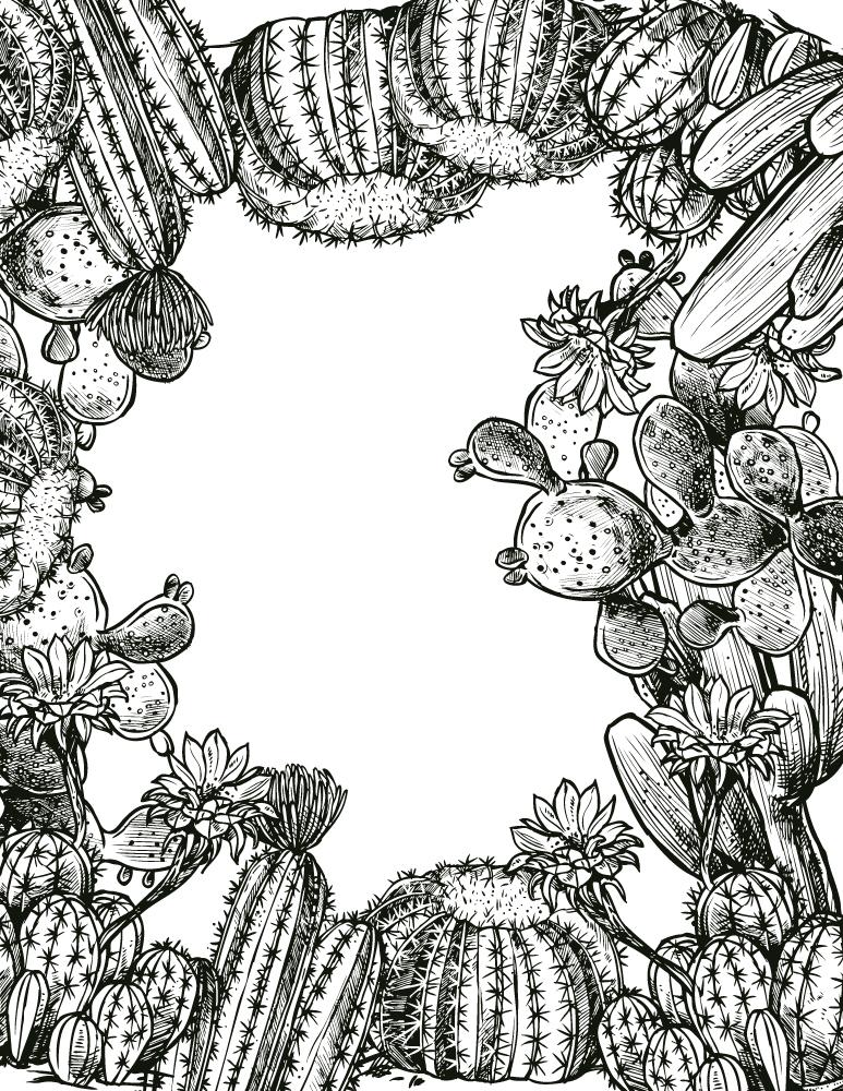 Cadre cactus jeux dessin gratuit